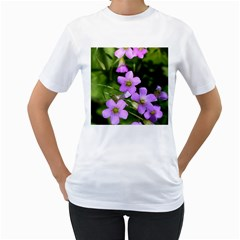 Little Purple Flowers Women s T-shirt (white) (two Sided) by timelessartoncanvas