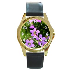 Little Purple Flowers Round Gold Metal Watch by timelessartoncanvas