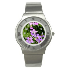 Little Purple Flowers Stainless Steel Watch by timelessartoncanvas