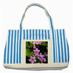 Little Purple Flowers Striped Blue Tote Bag by timelessartoncanvas