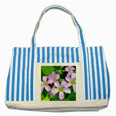 Little Purple Flowers 2 Striped Blue Tote Bag by timelessartoncanvas