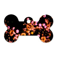 Little Peach And Pink Flowers Dog Tag Bone (two Sides) by timelessartoncanvas