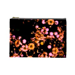 Little Peach And Pink Flowers Cosmetic Bag (large)  by timelessartoncanvas
