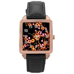 Little Peach And Pink Flowers Rose Gold Leather Watch  by timelessartoncanvas