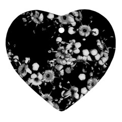 Little Black And White Flowers Ornament (heart)  by timelessartoncanvas