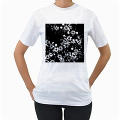 Little Black And White Flowers Women s T Shirt (white) (two Sided) by timelessartoncanvas