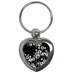 Little Black And White Flowers Key Chains (heart)  by timelessartoncanvas