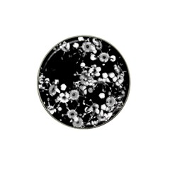 Little Black And White Flowers Hat Clip Ball Marker (4 Pack) by timelessartoncanvas