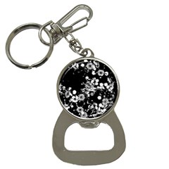 Little Black And White Flowers Bottle Opener Key Chains by timelessartoncanvas