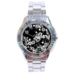 Little Black And White Flowers Stainless Steel Analogue Watch by timelessartoncanvas