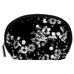 Little Black And White Flowers Accessory Pouches (large)  by timelessartoncanvas