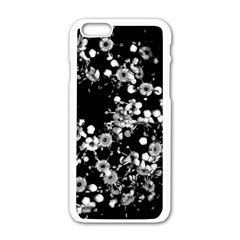 Little Black And White Flowers Apple Iphone 6/6s White Enamel Case by timelessartoncanvas