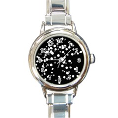 Little Black And White Dots Round Italian Charm Watch by timelessartoncanvas