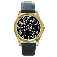 Little Black And White Dots Round Gold Metal Watch by timelessartoncanvas