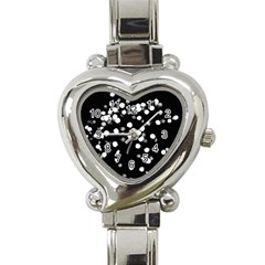 Little Black And White Dots Heart Italian Charm Watch by timelessartoncanvas