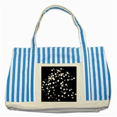 Little Black And White Dots Striped Blue Tote Bag by timelessartoncanvas