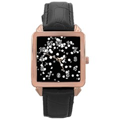 Little Black And White Dots Rose Gold Leather Watch  by timelessartoncanvas