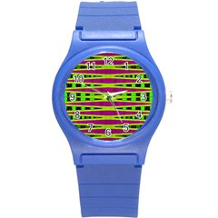 Bright Green Pink Geometric Round Plastic Sport Watch (s)