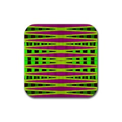 Bright Green Pink Geometric Rubber Coaster (square)  by BrightVibesDesign