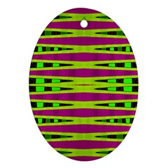 Bright Green Pink Geometric Oval Ornament (two Sides)