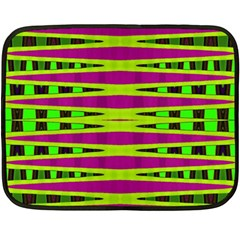 Bright Green Pink Geometric Double Sided Fleece Blanket (mini)  by BrightVibesDesign