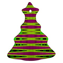 Bright Green Pink Geometric Christmas Tree Ornament (2 Sides)