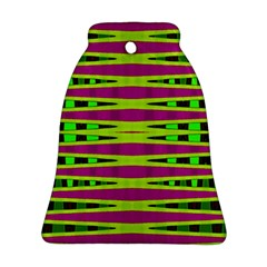 Bright Green Pink Geometric Bell Ornament (2 Sides)