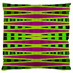 Bright Green Pink Geometric Large Cushion Case (one Side)