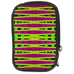 Bright Green Pink Geometric Compact Camera Cases
