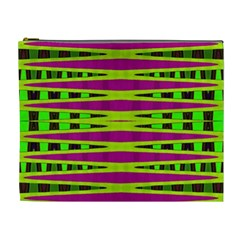 Bright Green Pink Geometric Cosmetic Bag (xl)