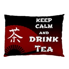 Keep Calm And Drink Tea   Dark Asia Edition Pillow Case (two Sides) by RespawnLARPer