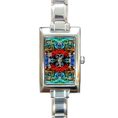 Colorful  Underwater Plants Pattern Rectangle Italian Charm Watch by Costasonlineshop