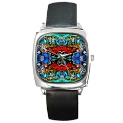 Colorful  Underwater Plants Pattern Square Metal Watch by Costasonlineshop