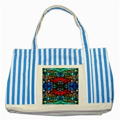 Colorful  Underwater Plants Pattern Striped Blue Tote Bag