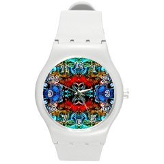 Colorful  Underwater Plants Pattern Round Plastic Sport Watch (m) by Costasonlineshop