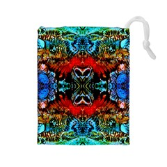 Colorful  Underwater Plants Pattern Drawstring Pouches (large)  by Costasonlineshop