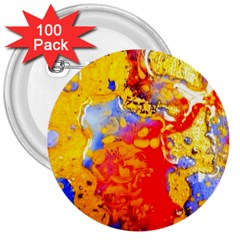 Gold And Red 3  Buttons (100 Pack)