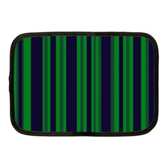 Dark Blue Green Striped Pattern Netbook Case (medium)  by BrightVibesDesign