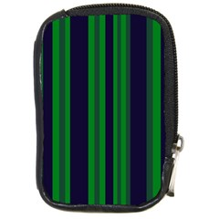 Dark Blue Green Striped Pattern Compact Camera Cases by BrightVibesDesign
