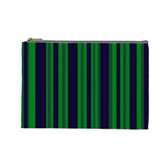 Dark Blue Green Striped Pattern Cosmetic Bag (large)  by BrightVibesDesign