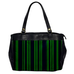 Dark Blue Green Striped Pattern Office Handbags by BrightVibesDesign