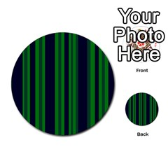 Dark Blue Green Striped Pattern Multi Purpose Cards (round)  by BrightVibesDesign
