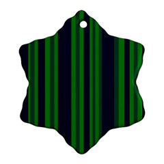 Dark Blue Green Striped Pattern Snowflake Ornament (2 Side) by BrightVibesDesign