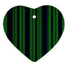 Dark Blue Green Striped Pattern Ornament (heart)  by BrightVibesDesign