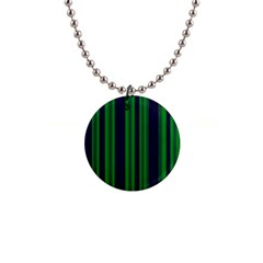 Dark Blue Green Striped Pattern Button Necklaces by BrightVibesDesign