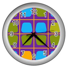 Shapes In Squares Pattern 			wall Clock (silver)