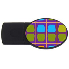 Shapes In Squares Pattern 			usb Flash Drive Oval (4 Gb)