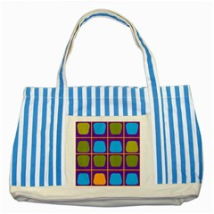 Shapes In Squares Pattern 			striped Blue Tote Bag by LalyLauraFLM