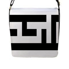Black And White Flap Messenger Bag (l)  by timelessartoncanvas