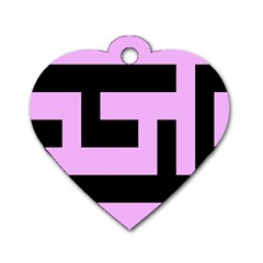 Black And Pink Dog Tag Heart (one Side) by timelessartoncanvas